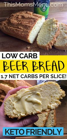 Beer Bread is one of my all time favorite quick breads. Served warm and smeared with butter it is pure perfection! This bread is super easy, low in carbs and is a great addition to any meal. The beer flavor is present but definitely not over powering, so it pairs well with many different cuisines. #beerbread #keto #lowcarbrecipes #ketorecipes #ketobread #thismomsmenu