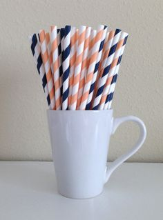 25 Coral and Navy / Peach and Navy Paper Party by PuppyCatCrafts, $3.60