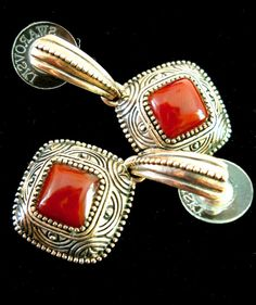 Vintage Sterling Silver Earrings Barse Red Agate by LakeBreezes,
