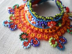 crochet and beads - interesting application maybe usable for a dance costume