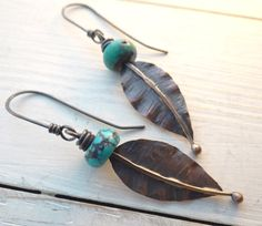 Autumn Copper Leaf Earrings  hand formed by LostSparrowJewelry, $21.00