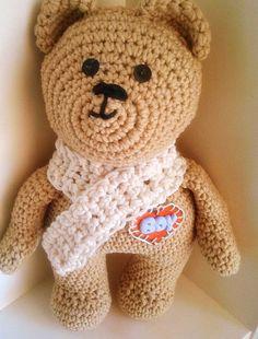 Amigurumi teddy bear newbaby  baby boy shower by abusylittlehook, $46.00