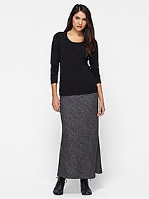 Full-Length Skirt in Organic Cotton and Wool Bias Twist
