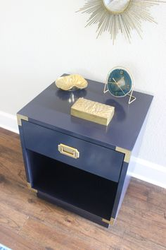 Bernhardt Campaign End Table W/Brass Hardware | Custom Paint | Campaign  Nightstand | Campaign Table | Mid Century Modern | Campaign Furniture