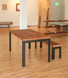 urban loft table - kitchen, dining - reclaimed old growth wood and industrial steel - modern elemental parsons style table