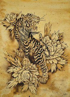 Tiger and Botan by Clark North Japanese Peony Tattoo Canvas Art Print