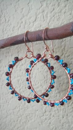 handmade copper wire hoop earrings wrapped with Turquoise Beads and Garnets~