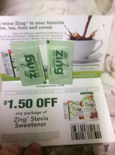 lot of 20 zing zero calorie sweetner coupoun and 2 packets #zingzerocaloriesteviasweetner