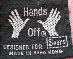 Hands Off vintage clothing label - Sears