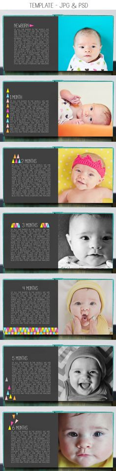 modern geometric baby first year photo book template $35