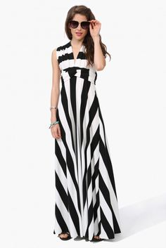 Stripe Changeable Maxi Dress in Black/white | Necessary Clothing