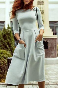 Women's Stylish Pocket Jewel Neck 3/4 Sleeve A-Line Dress