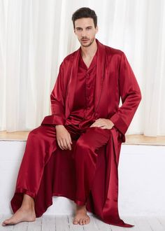 256a936e62 22 Momme Contra Full Length Silk Pajamas   Robe Set for Men
