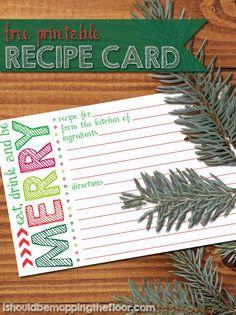 Printable Holiday Recipe Card - Reasons To Skip The Housework from Contributor Kristi - @ishouldbemoppingthefloor