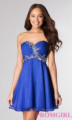 Short Strapless Sweetheart Dress by Alyce at PromGirl.com