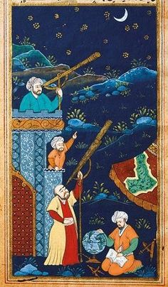 Ottoman astronomers studying the moon and the stars in a miniature. 17th century. Istanbul University Library.