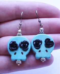 Vintage Sterling Silver 925 & Turquoise Sugar Skull Dangle Earrings #DropDangle