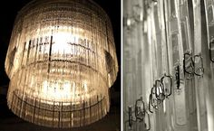 old coffee stirrers/awesome chandelier Drinking Black Coffee, Coffee Supplies, Diy Crystals, Coffee Cans, Great Coffee, Cafe Interior, Designer, Ceiling Lights, Lighting