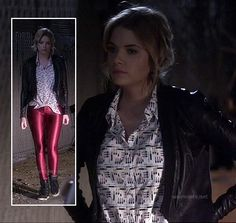 Hanna's black leather jacket and red metallic leggings on Pretty Little Liars.  Outfit Details: http://wornontv.net/16214/ #PrettyLittleLiars