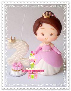 Topo de bolo  Princesinha = 15 cm altura  Mais vela