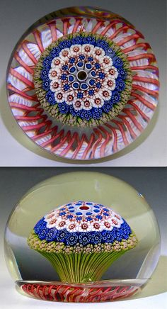 "Saint Louis {France} paperweight - Antique Mushroom w/Red Spiral Torsade, 1854-50, 3 1/8""w x 2 3/8""t, 25.4 oz. - #0698"