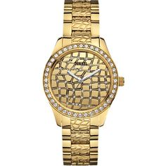 GUESS Watch, Women's Gold-Tone Animal Textured Stainless Steel Bracelet 37mm U0236L2 $115