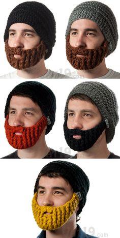 The Original Beard Hat  Knitted beanie with detachable, foldaway beard