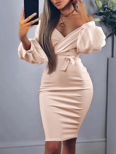 Off Shoulder Twisted Waist Tie Sexy Midi Dress - Alles über Damenmode Unique Dresses, Elegant Dresses, Sexy Dresses, Cute Dresses, Fashion Dresses, Formal Dresses, Casual Dresses, Midi Dresses, Work Dresses