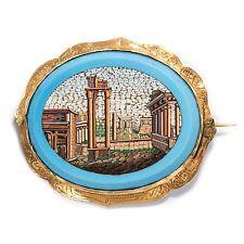 Micro-Mosaïque Broche de rome: le Capitole prise en or, pour 1830/micromosaic