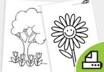 картинки за оцветяване - цветя и растения