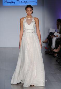 Illusion Halter A-Line Wedding Dress | Hayley Paige Wedding Dresses Spring 2015 | Kurt Wilberding | blog.theknot.com