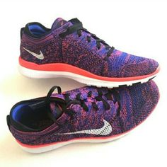 New Nike Free 5.0 fly knit sneakers sz 8.5 New without box Nike free 5.0 sneakers. Purple, tangerine, white and black fly knit material. Super light weight and comfortable. Perfect condition. Never been worn. Nike Shoes Sneakers