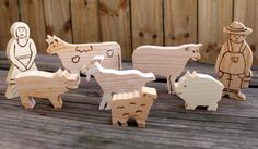 Wooden farm animal set by made4munchkins on Etsy, $35.00