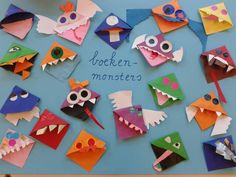 Boekenmonsters. Om om een hoekje van de bladzijde te doen. Zo kan je snel verder lezen! Diy Bookmarks, Corner Bookmarks, Origami Bookmark, Projects For Kids, Diy For Kids, Crafts For Kids, Fun Crafts, Diy And Crafts, Arts And Crafts