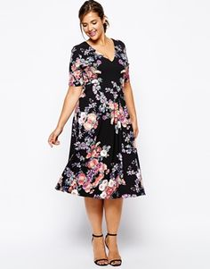 Enlarge Alice & You V-Neck Floral Print Midi Skater Dress