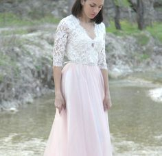 Dress for 700$. Second payment 150$ and 1 next payment  Wedding dress lace blouse and delicate as a cloud of tulle layered skirt . Top of your choice can be long or short sleeves, skirt length according to your desire . fluffiness skirt regulated layers. this model has 6 layers of tulle and lining + each successive layer + $ 40 to the price. You can choose different color  White lactic bodily pink lilac gray blue powdery green coffee red vinous so the same skirt and top can be from one lace…