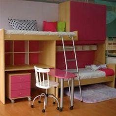 Dormitorio Infantil Juvenil Sidney con Camas Desplazadas, Bauleras, Escritorio y Mesa