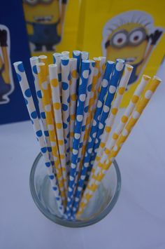 20 Despicable Me Minions Birthday Party Polka dot Paper Straws Party Favors on Etsy, $6.99