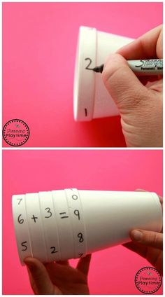Cool Math Activity for Kids - Cup Equations Spinner {pacific kid} Wenn du mehr . - Cool Math Activity for Kids – Cup Equations Spinner {pacific kid} Wenn du mehr über Legasthenie - Math Activities For Kids, Math For Kids, Fun Math, Educational Activities, Diy For Kids, Crafts For Kids, Preschool Art, Art Ideas For Teens, Kids Fun
