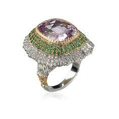 Buccellati Pagoda Cocktail Ring in White, yellow and pink gold with Kunzite, emeralds and diamonds