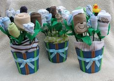 Boy's Baby Shower Decorations: Set of 6 Baby Blossom Small Baby Bouquet Pots- Boy Themed. $260.00, via Etsy.