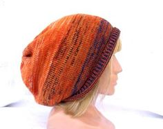 Knitted colorful wool hat, knit orange blue beanie, striped cap, accessories