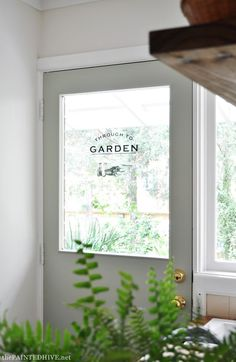 """DIY waterslide glass decal """"Through to Garden"""" Decal...and free printable"""