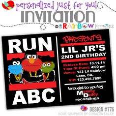 776: DIY - Run ABC Party Invitation Or Thank You Card