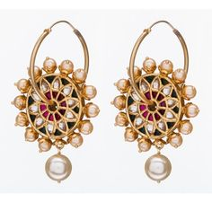 SKU-RPSE08689-Gold plated sterling silver kundan work earring made with semi precious stones<br />