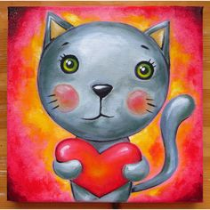 Arme kat, originele kunst, dieren, grijze kat, Weird kat, Cat Lovers,... (60 CAD) ❤ liked on Polyvore featuring accessories, cat, animals, kitten, animal canvas wall art, oil painting, cat wall art, cat oil painting and gray wall art