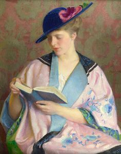 William McGregor Paxton (woman in a blue hat, reading)