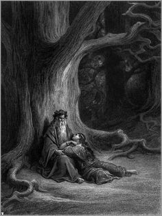 """Merlin and Viviene: Gustave Doré's illustration of Lord Alfred Tennyson's """"Idylls of the King"""", 1868."""