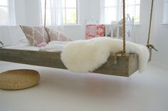 hanging bed - reclaimed wood from barn and heavy duty rope