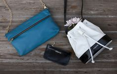 Spring Accessories: stand out in bold teal and black and white.